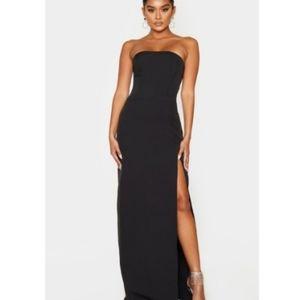 Black corset detail Bandeau Maxi Dress